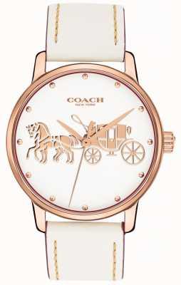 Coach Damski biały skórzany pasek z różowego złota koperta biała tarcza 14502973