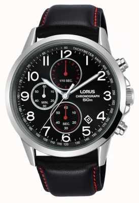 Lorus Męski zegarek chronograf czarny skórzany pasek czarna tarcza RM369EX8