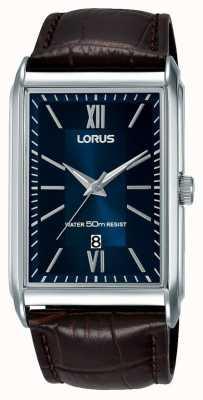 Lorus Męski prostokątny zegarek brązowy skórzany pasek niebieska tarcza RH911JX9
