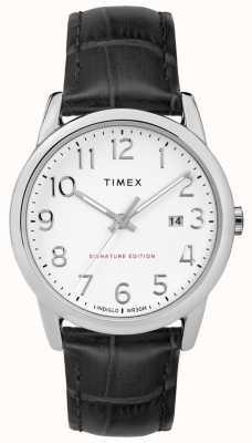 Timex Czytelny podpis czytelnika z datownikiem ze skóry 38 mm TW2R64900