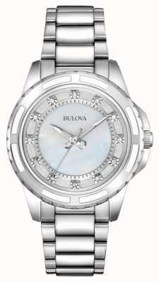Bulova Damska designerska diamentowa masa perłowa 96S144