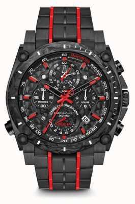 Bulova Precyzyjny chronograf czarny czerwony uhf 98B313