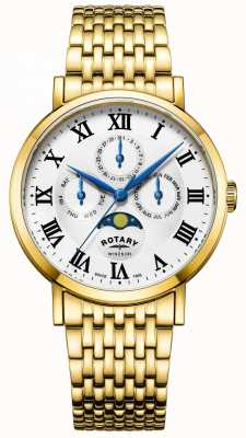 Rotary Mens windsor moonfase watch bransoleta pozłacana GB05328/01