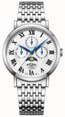 Rotary Męskie windsor moonfase zegarek bransoletka srebrny tone GB05325/01