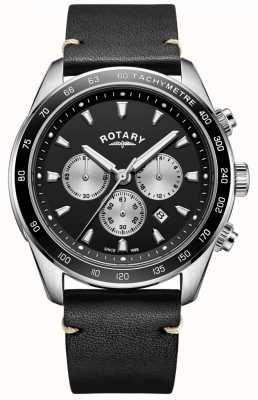 Rotary Zegarek męski henley czarny chronograf czarny skórzany pasek GS05115/04