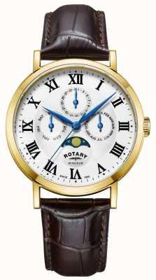 Rotary Męskie windsor moonfase zegarek skórzany pasek GS05328/01