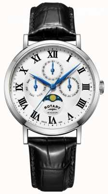 Rotary Męskie windsor moonphase day data watch black leather strap GS05325/01