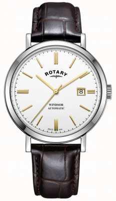 Rotary Męskie windsor watch srebrny tone case biały skórzany pasek wybierania GS05315/02