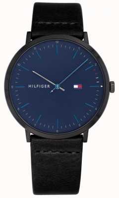 Tommy Hilfiger Mężczyzna james zegarka czarny skórzany pasek niebieska tarcza 1791462