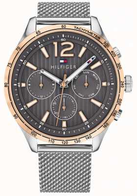 Tommy Hilfiger Męski zegarek chronografowy gavin srebrna bransoleta ze stalowej siatki 1791466
