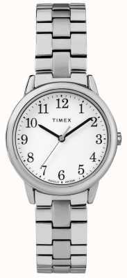 Timex Damska tarcza zegarka 31mm ze stali nierdzewnej, biała tarcza TW2R58700