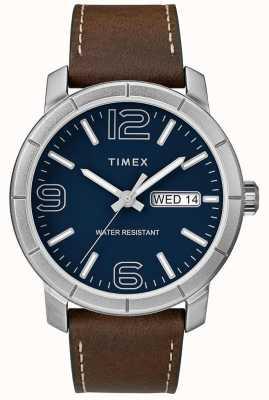 Timex Męski mod 44 brązowy skórzany pasek z niebieską tarczą TW2R64200