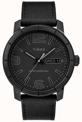 Timex Męski mod 44 czarny skórzany pasek czarna tarcza TW2R64300