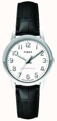 Timex Damski 30mm łatwy czytnik czarny pasek na szydełku biała tarcza TW2R65300