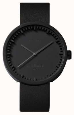 Leff Amsterdam Zegarek na tubkę d38 czarny pokrowiec z czarnego skórzanego paska LT71011