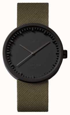 Leff Amsterdam Zegarek na rurkę d42, czarny, zielony pasek z cordury LT72014