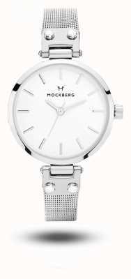 Mockberg Elise drobna bransoleta z siatki ze stali nierdzewnej, biała tarcza MO402