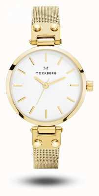 Mockberg Livia drobna złota pvd plated bransoletka z białej tarczy MO401