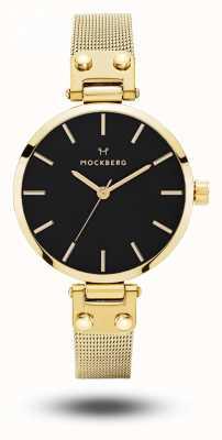 Mockberg Livia petite noir złota pvd plated bransoletka z siatki czarna tarcza MO403