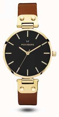 Mockberg Czarny, brązowy pasek w czarnym kolorze MO114