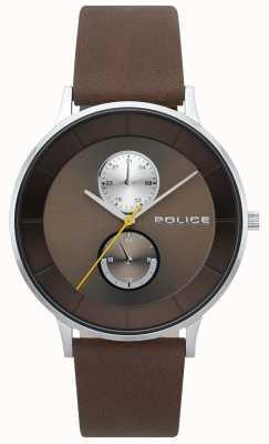 Police Męski zegarek z brązowego skórzanego paska berkeley 15402JS/12