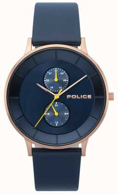 Police Męski zegarek skórzany w berkeley blue 15402JSR/03