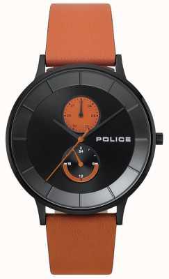 Police Męski skórzany pasek na berkeley pomarańczowy zegarek 15402JSB/02