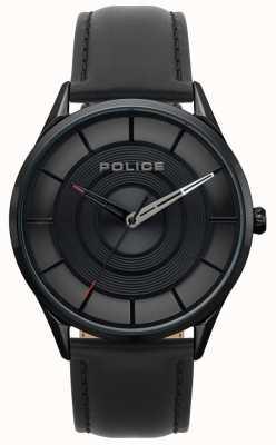 Police Czarna skóra męska Burbank, czarny zegarek z etui 15399JSB/02
