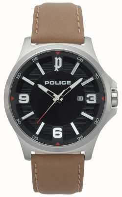 Police Męski klan jasnobrązowy skórzany zegarek 15384JS/02