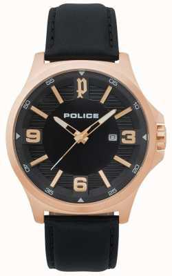 Police Męski zegarek z czarnej skóry klanowej 15384JSR/02