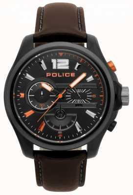 Police Męski denver ciemnobrązowy skórzany zegarek 15403JSBU/02