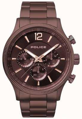 Police Męski zegarek z brązowym posrebrzanym posrebrzanym bransoletką 15302JSBN/12M