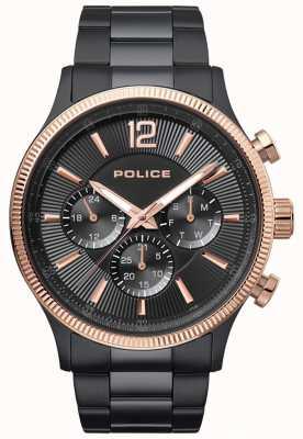Police Mens feral dwukolorowy zegarek platerowany platyną 15302JSBR/02M