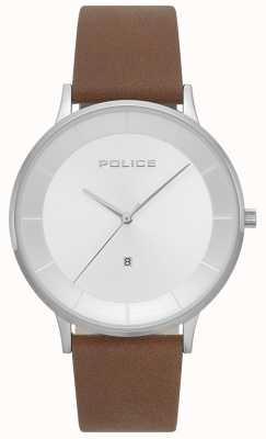 Police Mens fontana brązowy skórzany srebrny zegarek 15400JS/04