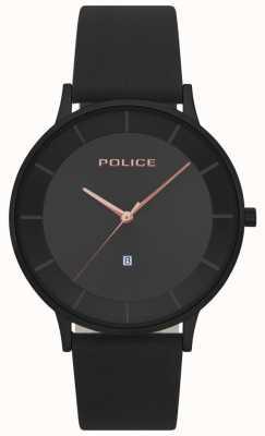 Police Mens fontana czarna skórzana czarna tarcza 15400JSB/02