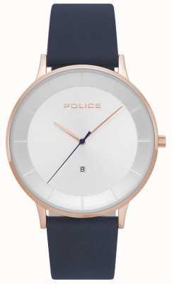 Police Mens fontana niebieski skórzany srebrny zegarek 15400JSR/04