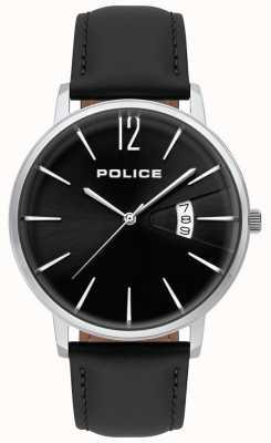 Police Męski zegarek z czarnej skóry 15307JS/02