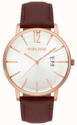 Police Męski zegarek z brązowej skóry 15307JSR/01