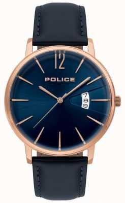Police Męski niebieski skórzany zegarek 15307JSR/03
