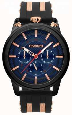 Police Męski zegarek z czarnym gumowym paskiem 15414JSB/03P