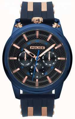 Police Męski, niebieski, gumowy zegarek na rękę 15414JSBL/61P