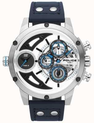 Police Mens kosa niebieski skórzany srebrny biały zegarek wybierania 15406JS/04