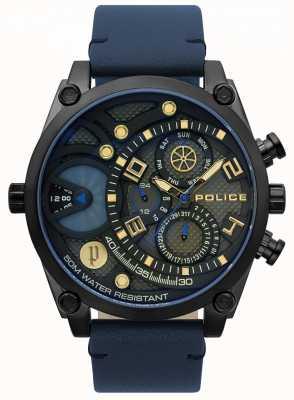 Police Zegarek męski z niebieskim skórzanym paskiem 15381JSB/61