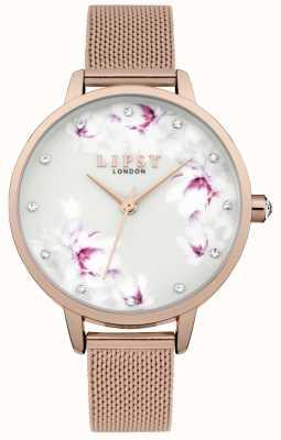 Lipsy Damski zegarek z różową siatką z kwiatkiem LP577