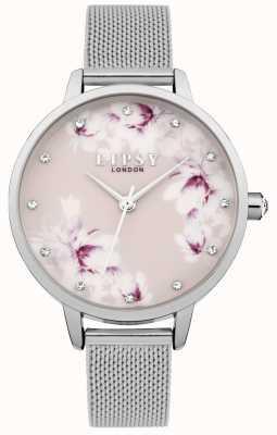 Lipsy Damska srebrna różowa bransoleta z kwiatkiem LP576