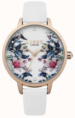 Lipsy Damski biały pasek kwiatowy zegarek LP572