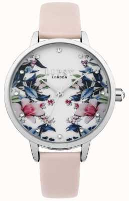 Lipsy Damski różowy pasek kwiatowy zegarek LP573