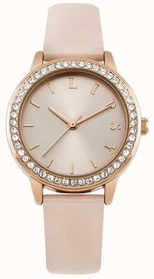 Lipsy Damski różowy pasek, zegarek z różowego złota LP565