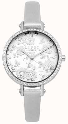 Lipsy Damski srebrny pasek kwiatowy zegarek LP567