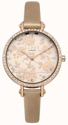 Lipsy Kobiet jechał złoty pasek z różanym złotem kwiatowy zegarek wybierania LP584